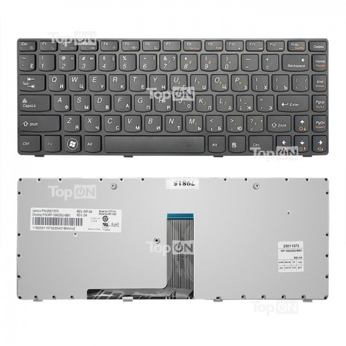 Клавиатура для ноутбука Lenovo B470, G470, V470, Z470 IdeaPad с рамкой, черная