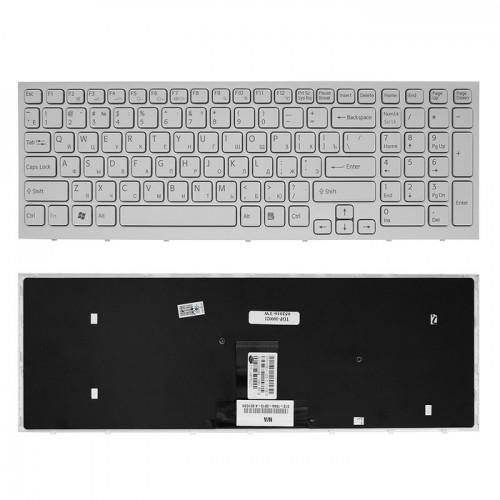 Клавиатура для ноутбука Sony Vaio VPC-EB Series (белая, с рамкой)