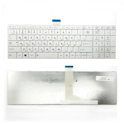 Клавиатура для ноутбука Toshiba Satellite C50, L850, C850, P850  (белая с рамкой)